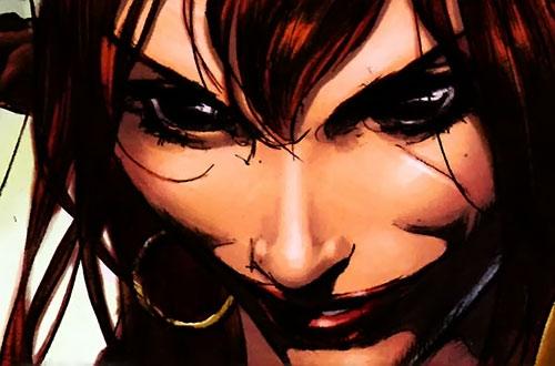 Janissa the Widowmaker (Conan ally) (Dark Horse Comics) grinning face closeup