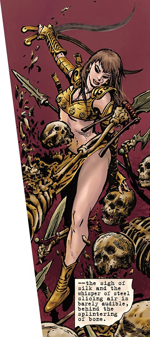 Janissa the Widowmaker (Conan ally) (Dark Horse Comics) fighting skeletons