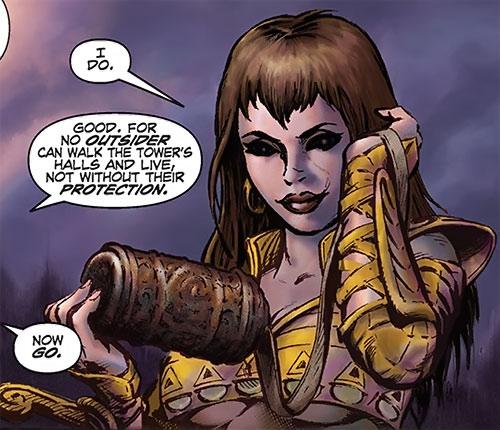 Janissa the Widowmaker (Conan ally) (Dark Horse Comics) examining a small urn