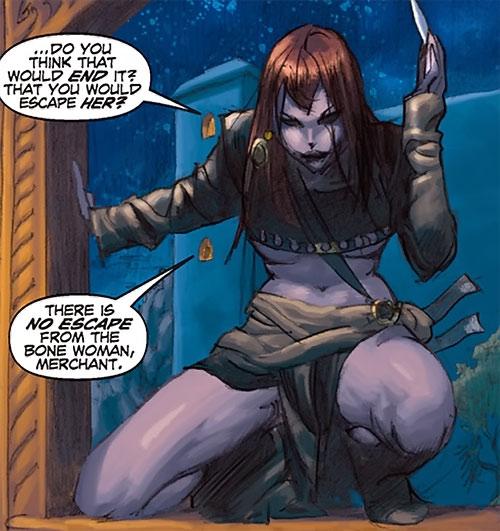 Janissa the Widowmaker (Conan ally) (Dark Horse Comics) sneaking through a window
