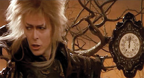 Jareth the Goblin King (David Bowie in Labyrinth) and a clock