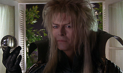 Jareth the Goblin King (David Bowie in Labyrinth) with a glass ball
