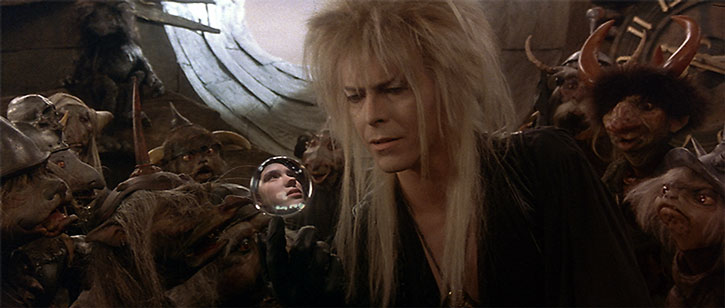 Jareth (David Bowie) and a crowd of goblins