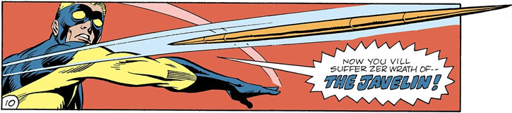 Javelin (DC Comics) throws a javelin