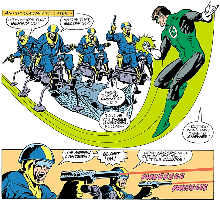Javelin's henchmen vs. Green Lantern Hal Jordan (DC Comics)