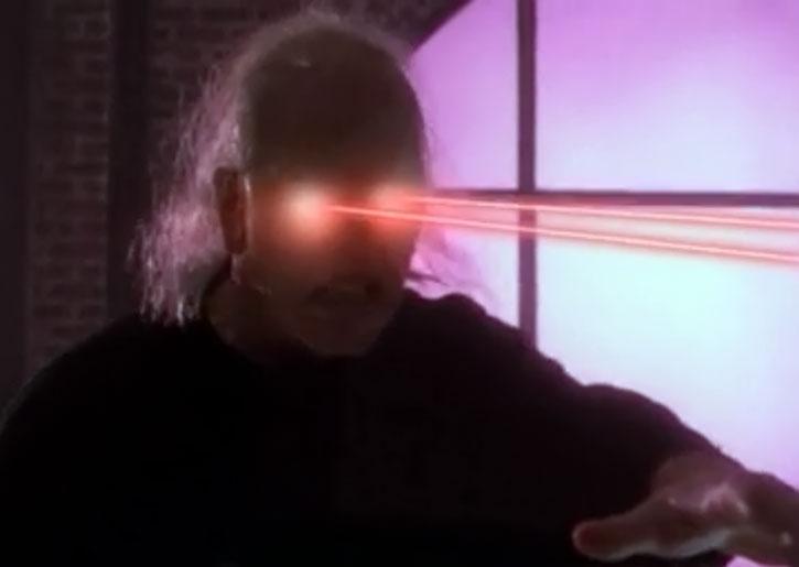 Javna in aged form, shooting eye beams