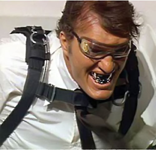 Jaws (Richard Kiel in James Bond movies) about to parachute