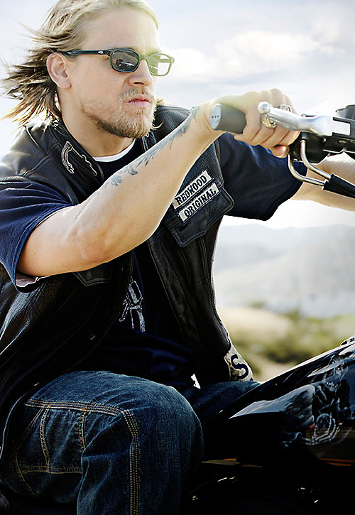 Jax Teller (Charlie Hunnam in Sons of Anarchy) riding