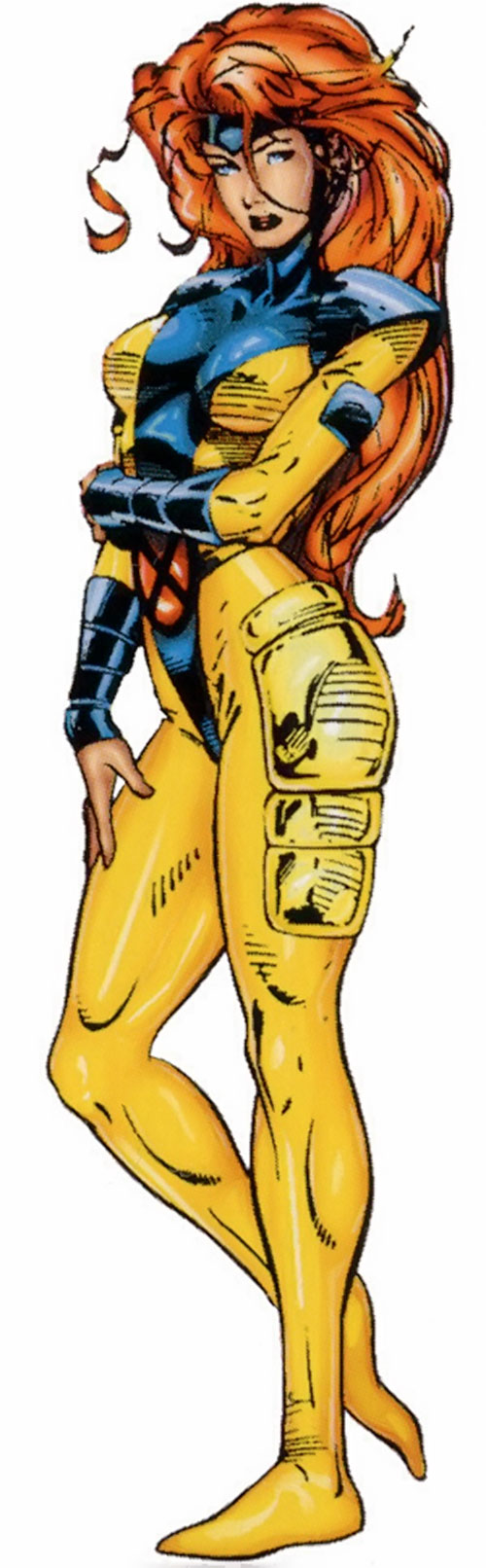 Jean Grey of the X-Men (Marvel Comics) in the yellow and blue costume by Jim Lee