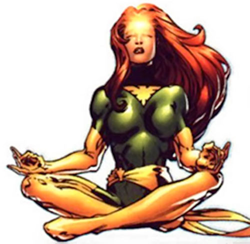 Jean Grey of the X-Men (Marvel Comics) meditating as Phoenix