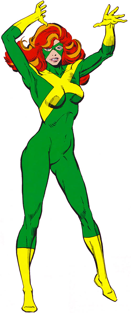 Jean Grey of X-Factor (Marvel Comics) in the green uniform