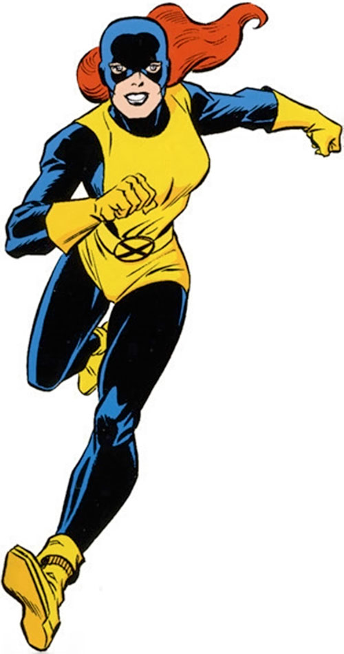 Jean Grey of the X-Men (Marvel Comics) running in the navy and yellow uniform