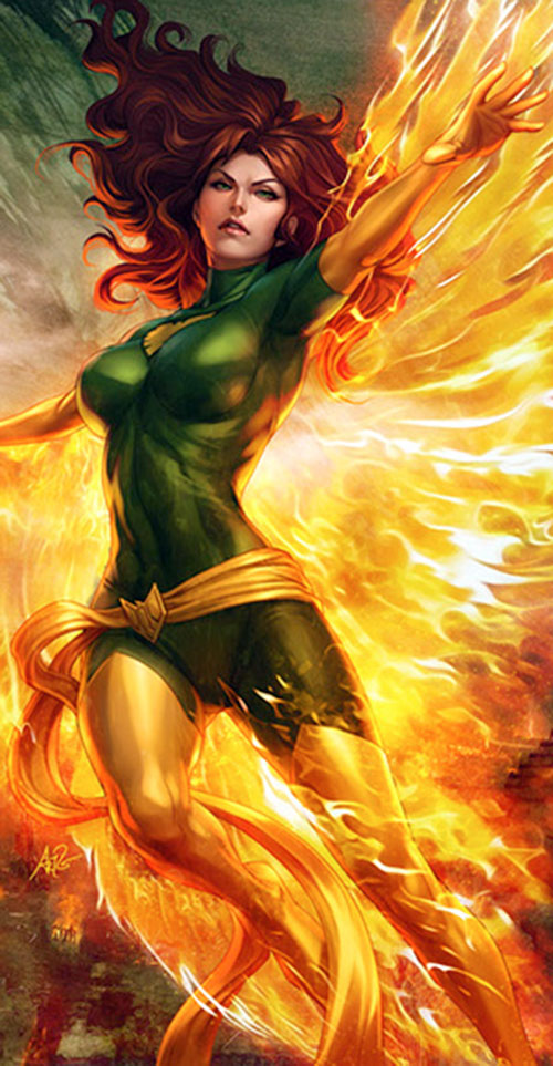 Jean Grey of the X-Men (Marvel Comics) as Phoenix, presumably by Artgerm