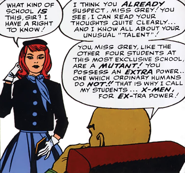 A young Jean Grey and Professor X
