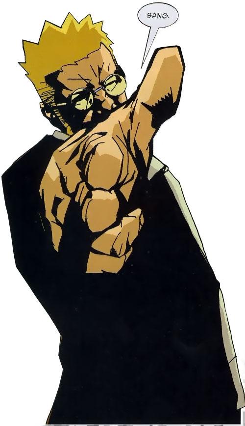 Jensen of the Losers (DC Comics) doing gun fingers
