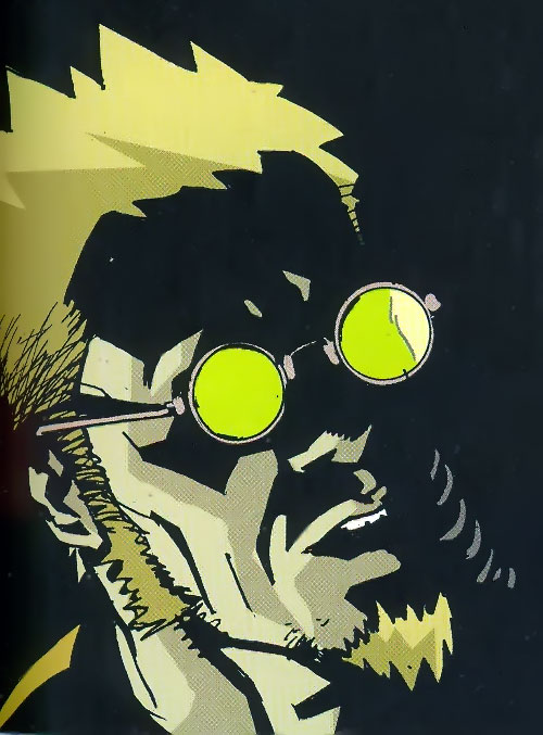 Jensen of the Losers (DC Comics) in darkness with his glasses shining