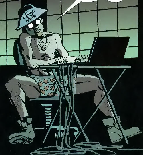 Jensen of the Losers (DC Comics) in his undies with a pirate hat