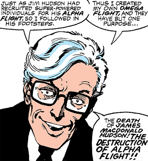 Jerry Jaxon (Alpha Flight enemy) (Marvel Comics) face closeup white hair