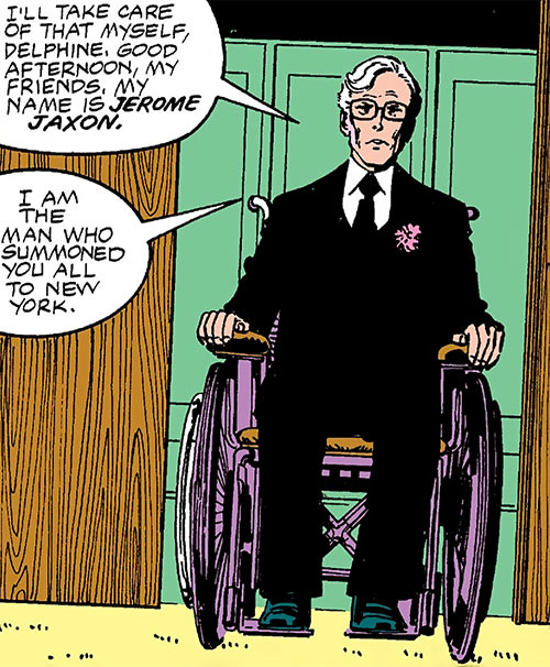 Jerry Jaxon (Alpha Flight enemy) (Marvel Comics) wheelchair and black suit