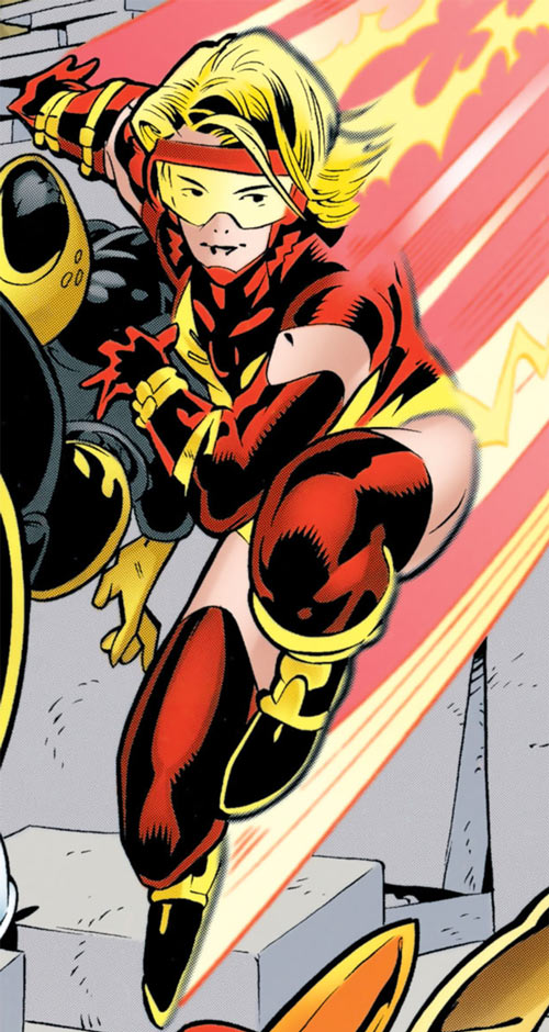 Jesse Quick (DC Comics) landing at super-speed