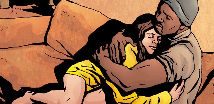 Jessica Jones and Luke Cage hugging
