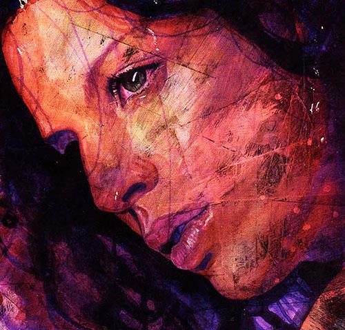 Jessica Jones (Marvel Comics) painted portrait