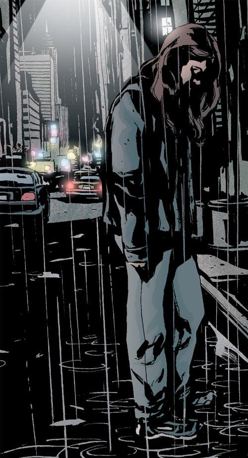 Jessica Jones (Marvel Comics) drifting under New York City rain
