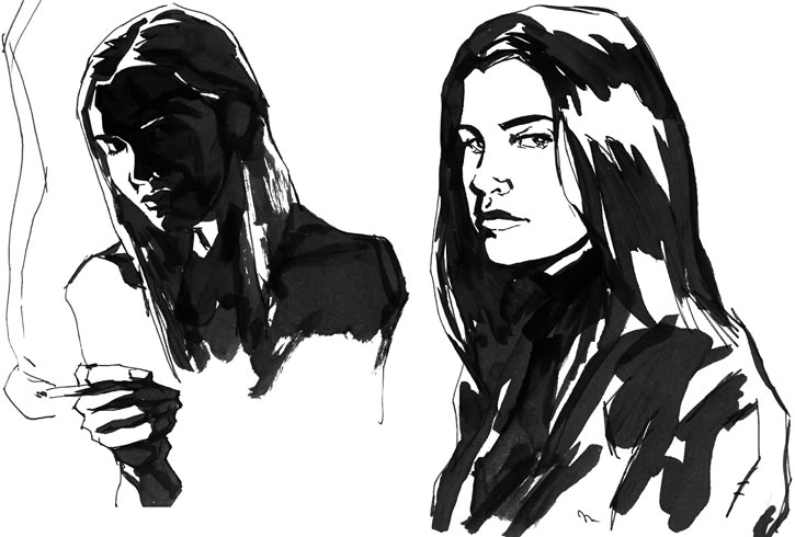 Jessica Jones (Marvel Comics) B&W sketch by Gaydos, two portraits