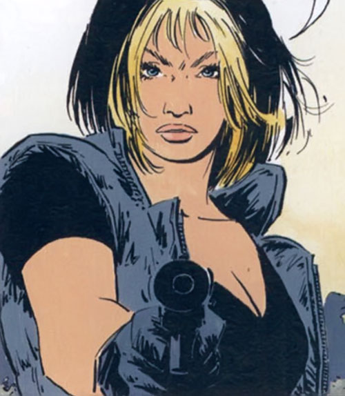 Jessica Martin (XIII comics graphic novels) pointing a silenced pistol