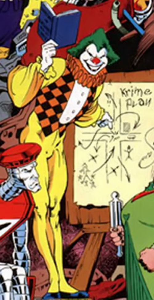 Jester of the Crazy Gang (Excalibur enemy) (Marvel Comics) planning a crime