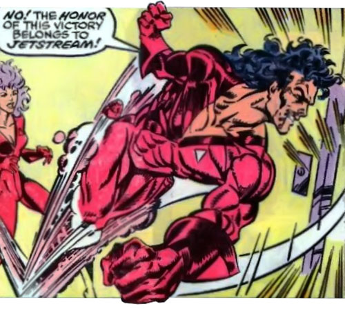 Jetstream of the Hellions (Marvel Comics) flying and punching