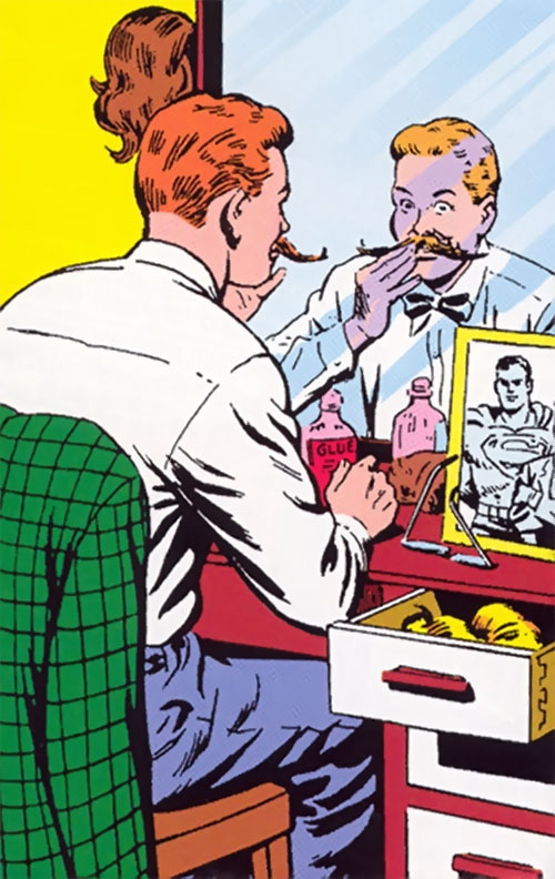 Jimmy Olsen, Superman's Pal disguising himself with a big moustache