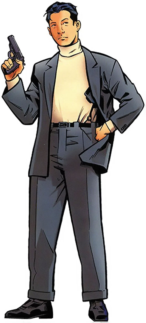Jimmy Woo of the Agents of Atlas (Marvel Comics) with a beige turtleneck