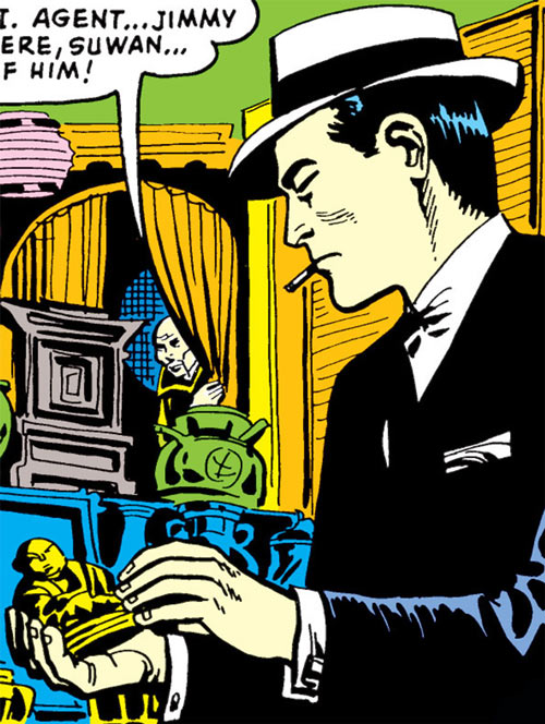 Jimmy Woo (1950s version) (Atlas Comics) in an oriental curios boutique
