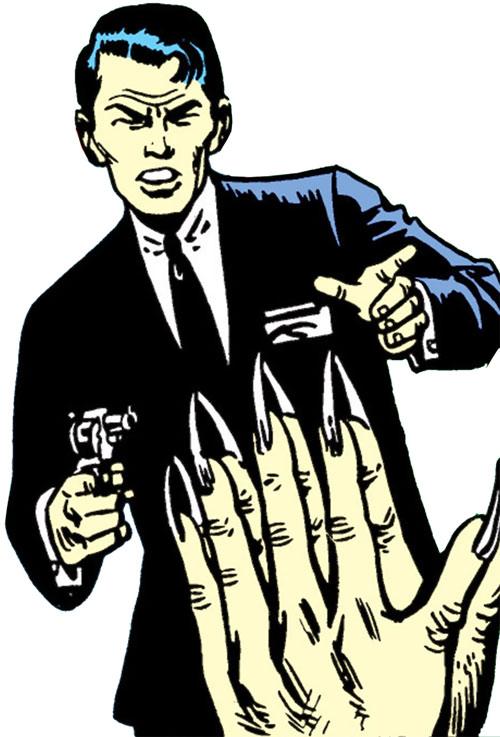 Jimmy Woo (1950s version) (Atlas Comics) aims his gun at the Yellow Claw