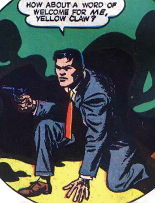 Jimmy Woo (1950s version) (Atlas Comics) facing shadow men with his .38 revolver