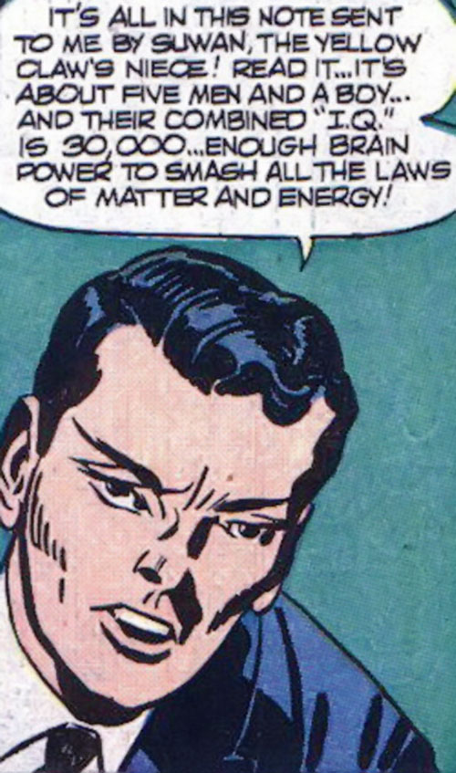Jimmy Woo (1950s version) (Atlas Comics) explaining rubber science