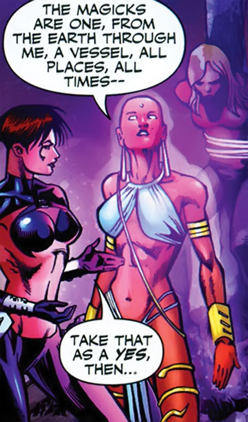 Jinx of the Fearsome Five (DC Comics) glowing purple