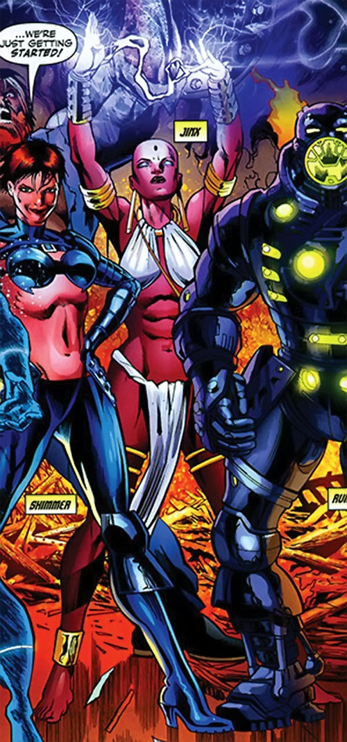 Jinx of the Fearsome Five (DC Comics) with a modern version of the team
