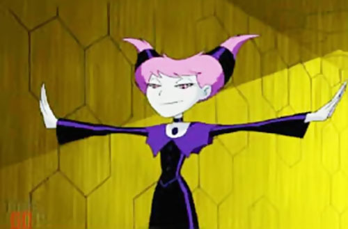Jinx of HIVE (Teen Titans Animated Series) with arms stretched and raised palms
