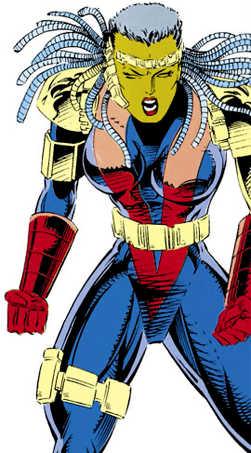 Joanna Cargill of the Acolytes of Magneto (X-Men enemy) (Marvel Comics) (Frenzy) metallic hair extentions