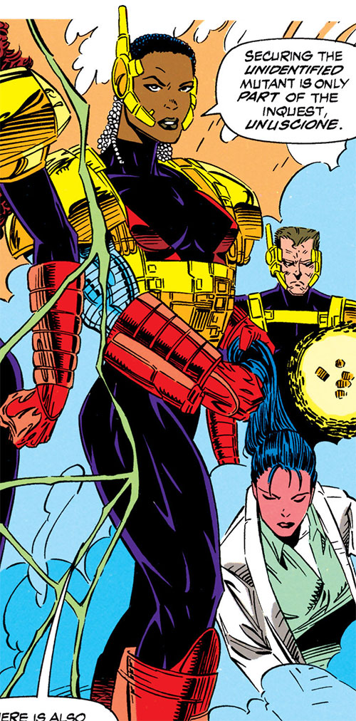 Joanna Cargill of the Acolytes of Magneto (X-Men enemy) (Marvel Comics) (Frenzy) with Sharon Friedlander