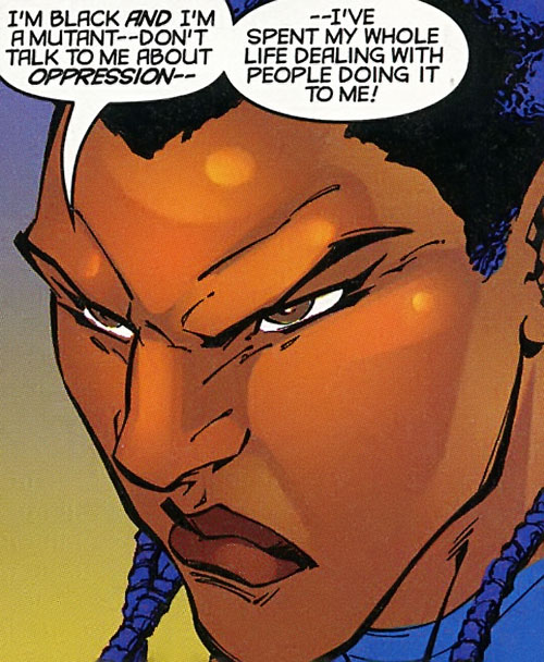 Joanna Cargill of the Acolytes of Magneto (X-Men enemy) (Marvel Comics) (Frenzy) angry face closeup