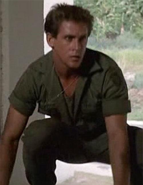 Joe Armstrong (Michael Dudikoff in American Ninja) crouching