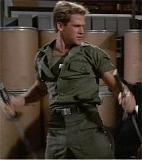 Joe Armstrong (Michael Dudikoff in American Ninja) with paired ninja swords