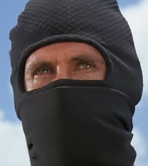 Joe Armstrong (Michael Dudikoff in American Ninja) hooded face closeup