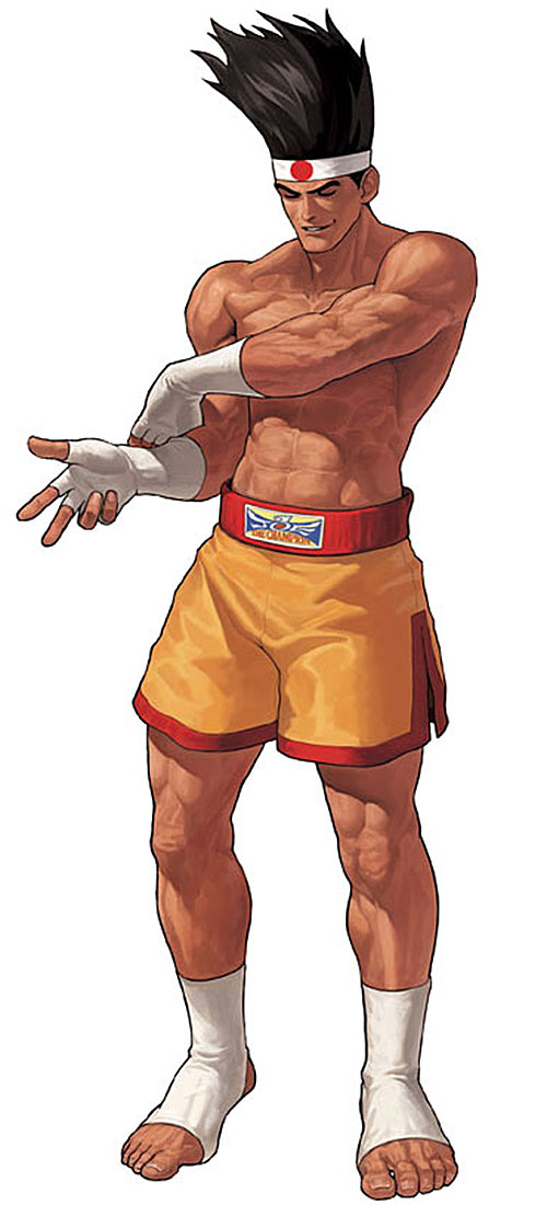 Joe Higashi (Fatal Fury and King of Fighters) adjusting his handwraps
