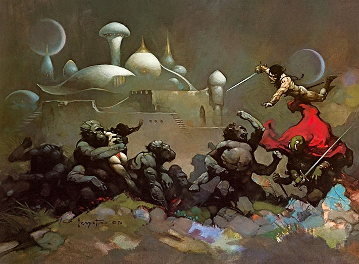 John Carter during a battle on Mars, painting by Frazetta