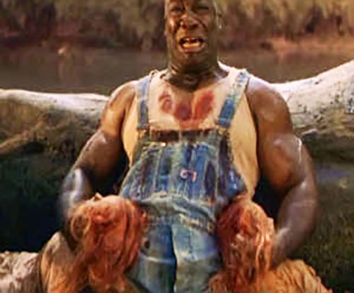 John Coffey (Michael Clarke Duncan in The Green Mile) (Stephen King) holding the two dead girls