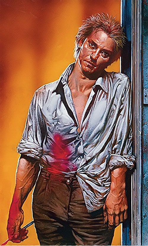 John Constantine Hellblazer (DC Comics) with bloody shirt and scalpel